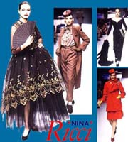 Photos of women modelling high fashion designs - a black lace skirt, a brown pants suit with long coat, a red suit, and a black evening gown with stole